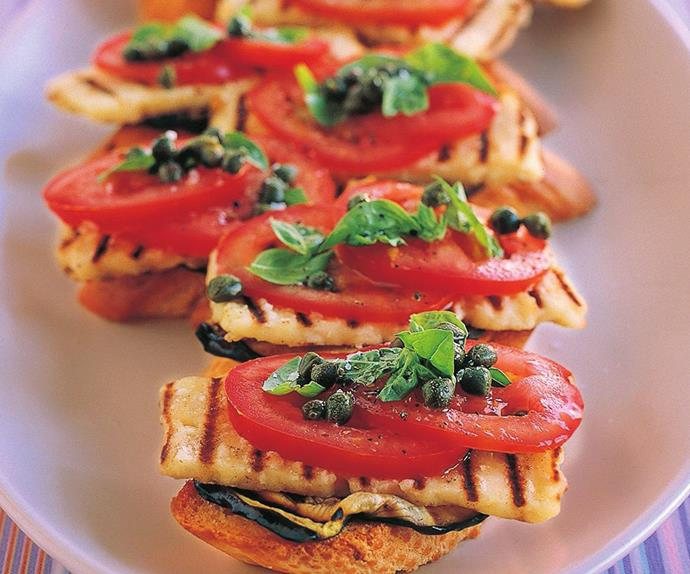 MEDITERRANEAN VEGETABLE AND HALOUMI BRUSCHETTA