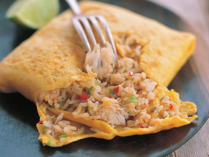 "**[Crab fried rice in omelette](https://www.womensweeklyfood.com.au/recipes/crab-fried-rice-in-omelette-9982|target=""_blank"")**"