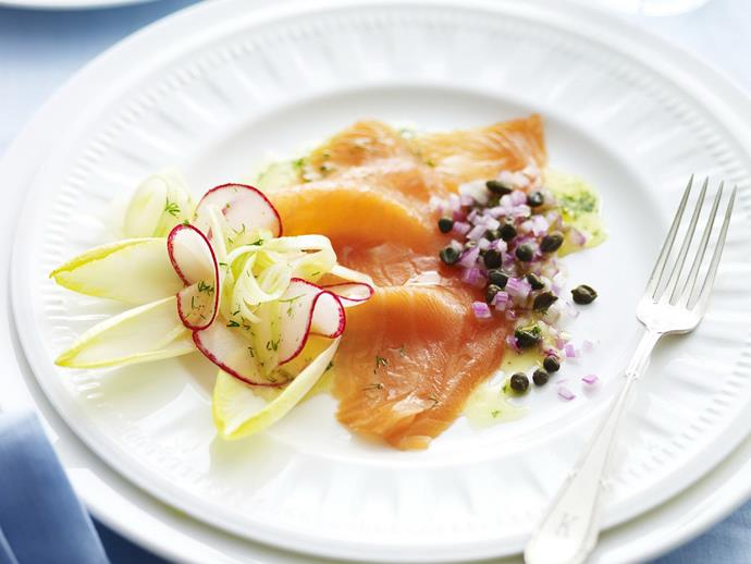 "**[Smoked salmon with capers](https://www.womensweeklyfood.com.au/recipes/smoked-salmon-with-capers-4221|target=""_blank"")**"