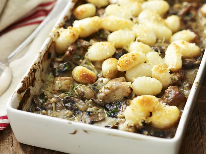 "**[Chicken, mushroom and gnocchi pie](https://www.womensweeklyfood.com.au/recipes/chicken-mushroom-and-gnocchi-pie-9987|target=""_blank"")**"