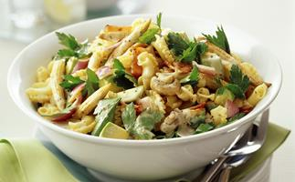 Bacon and corn pasta salad with mustard dressing