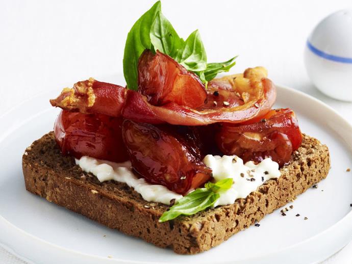 "**[Rye toast with roasted tomato and basil](https://www.womensweeklyfood.com.au/recipes/rye-toast-with-roasted-tomato-and-basil-3999 target=""_blank"")**"