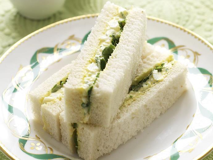 "**[Creamy egg & watercress sandwiches](https://www.womensweeklyfood.com.au/recipes/creamy-egg-and-watercress-sandwiches-9999|target=""_blank"")**"