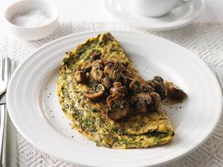 herb omelette with sautéed mushrooms