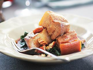 maple-syrup-flavoured pork belly with pecans