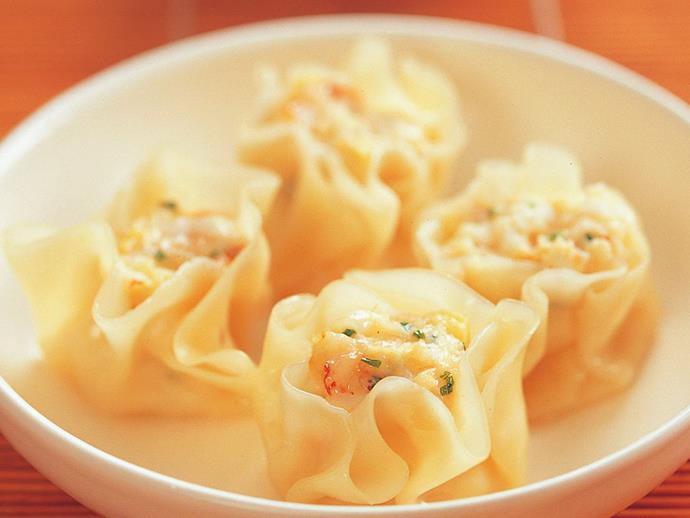 """Plump [prawn dumplings](https://www.womensweeklyfood.com.au/recipes/prawn-dumplings-9619