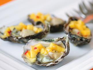 oysters with mango and chilli