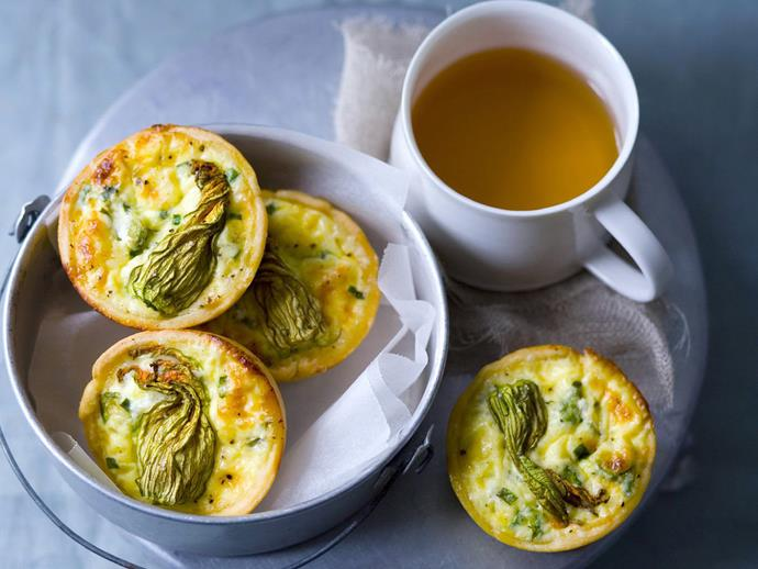 "**[Goats cheese and zucchini flower quiches](https://www.womensweeklyfood.com.au/recipes/goats-cheese-and-zucchini-flower-quiches-4053|target=""_blank"")**"