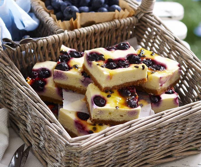 blueberry passionfruit cheesecake squares