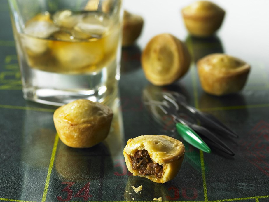 "[**Beef and stilton pies**](https://www.womensweeklyfood.com.au/recipes/beef-and-stilton-pies-9678|target=""_blank"") <br><br> Any beef cut suitable for stewing can be used for the pie filling: gravy beef, skirt, blade or chuck steak. These cute little beef and stilton pies make excellent finger food."