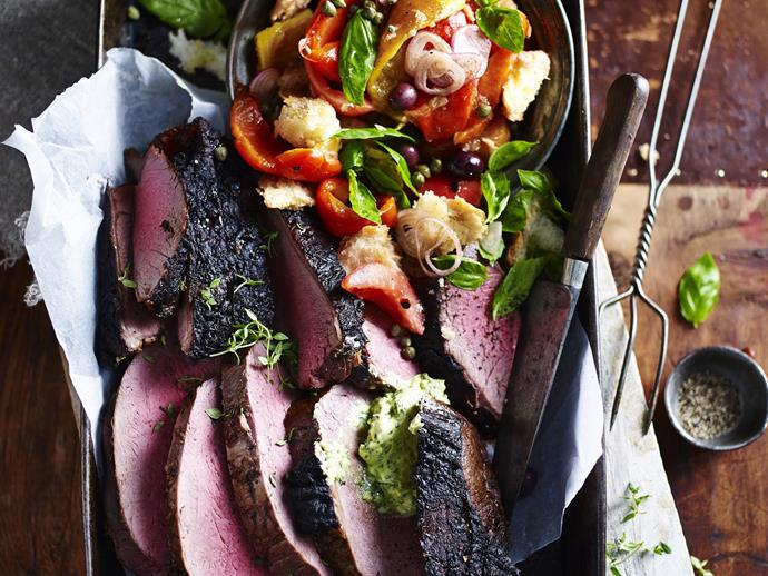 """**[Barbecued beef rump with panzanella salad and anchovy butter](https://www.womensweeklyfood.com.au/recipes/barbecued-beef-rump-with-panzanella-salad-9709 target=""""_blank"""")**  Jazz up your standard weekend barbecue with this delicious grilled beef rump recipe. It's complete with a fragrant anchovy butter and roasted tomato and capsicum salad - too good."""