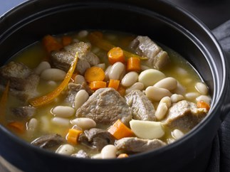 pork neck, orange and white bean stew