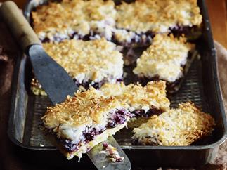 Blueberry Macaroon Slice