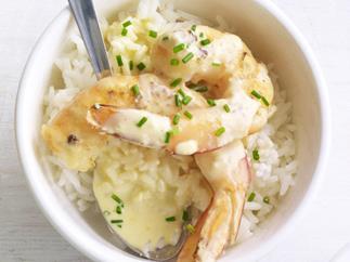 garlic prawns with steamed rice