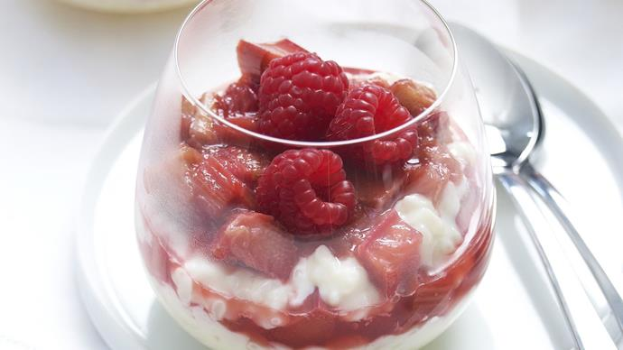 creamed rice with rhubarb and raspberries