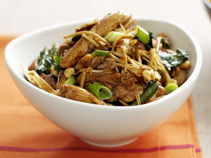 mixed mushrooms and chicken with crispy noodles