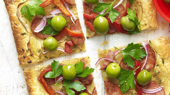 chorizo and potato galette with green olives