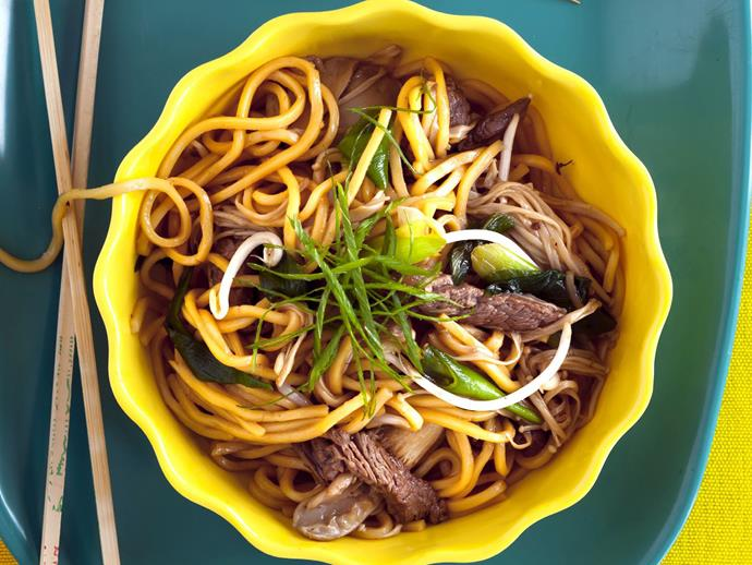 "Asian-style [stir-fried beef with thin hokkien noodles](https://www.womensweeklyfood.com.au/recipes/stir-fried-beef-with-hokkien-noodles-3875|target=""_blank"")."