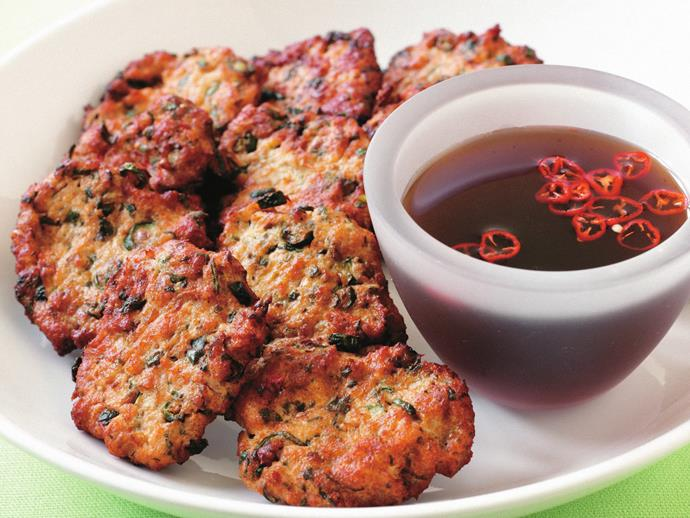 "**[Fish cakes](https://www.womensweeklyfood.com.au/recipes/fish-cakes-9844|target=""_blank"")**"