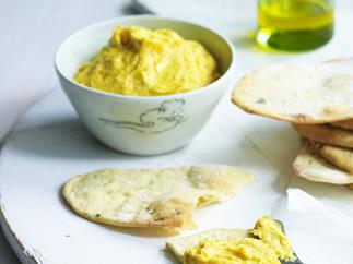 pumpkin hummus with green onion crisps