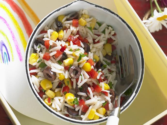 "**[Rainbow rice salad](https://www.womensweeklyfood.com.au/recipes/rainbow-rice-salad-3929|target=""_blank"")**"
