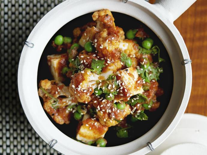 """**[Cauliflower, pea and paneer balti](https://www.womensweeklyfood.com.au/recipes/cauliflower-pea-and-paneer-balti-9291