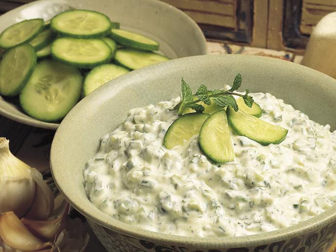 "**[Cucumber with minted yogurt](https://www.womensweeklyfood.com.au/recipes/cucumber-with-minted-yogurt-9292|target=""_blank"")**"