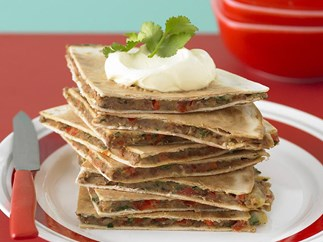bean and coriander quesadillas