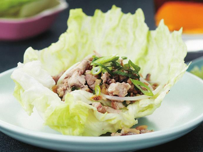 "**[Pork and chicken sang choy bow](https://www.womensweeklyfood.com.au/recipes/pork-and-chicken-sang-choy-bow-9351|target=""_blank"")**  Tasty little pork filled lettuce cups make a great starter; or serve them up as part of a banquet meal."