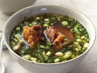 asian broth with crisp pork belly