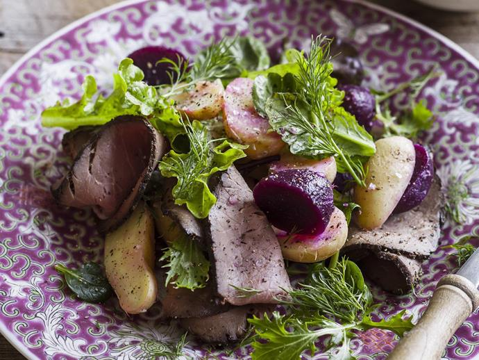 """**[Beef, beetroot and potato salad](https://www.womensweeklyfood.com.au/recipes/beef-beetroot-and-potato-salad-9364