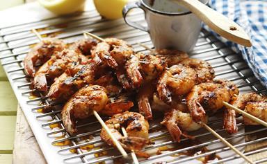 Chilli marinated prawn skewers