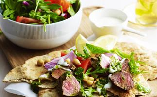 chermoulla lamb with chickpea salad