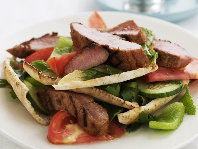 """**[Fattoush with harissa-rubbed lamb](https://www.womensweeklyfood.com.au/recipes/fattoush-with-harissa-rubbed-lamb-9404