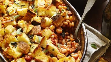 Herb-crumbed baked beans