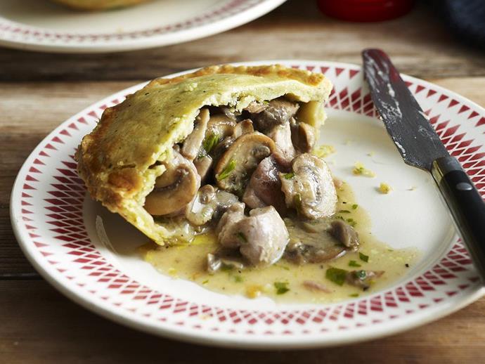 "**[Chicken, mushroom and tarragon pies](https://www.womensweeklyfood.com.au/recipes/chicken-mushroom-and-tarragon-pies-9409|target=""_blank"")**"