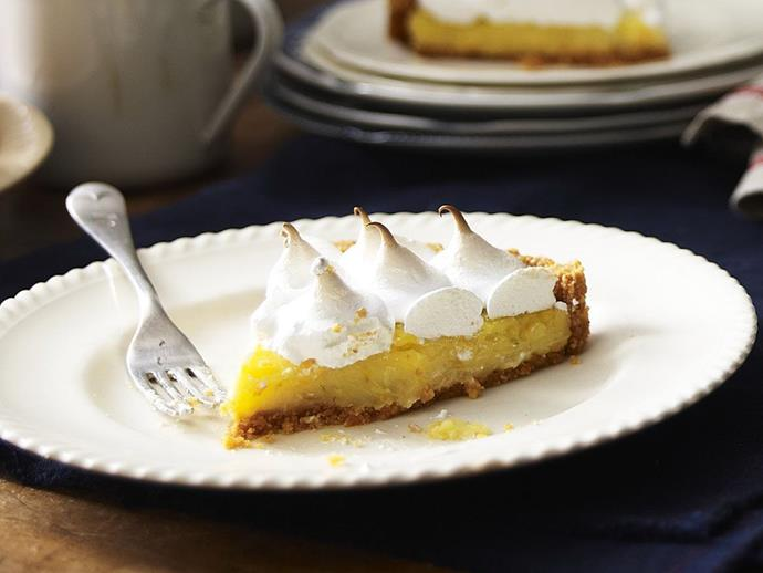 """**[Citrus-trio meringue pie](https://www.womensweeklyfood.com.au/recipes/citrus-trio-meringue-pie-9418