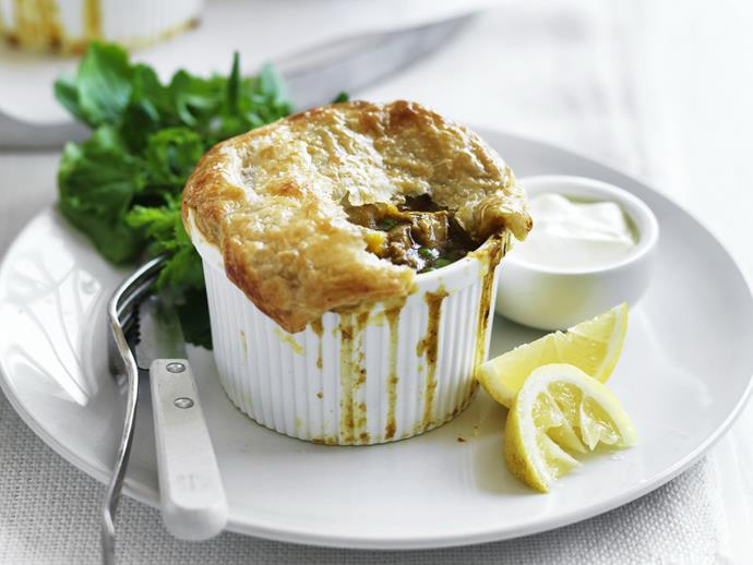 "Quick, easy and fun [chicken curry pot pies](https://www.womensweeklyfood.com.au/recipes/chicken-curry-pot-pies-9438|target=""_blank"") to impress the kids."