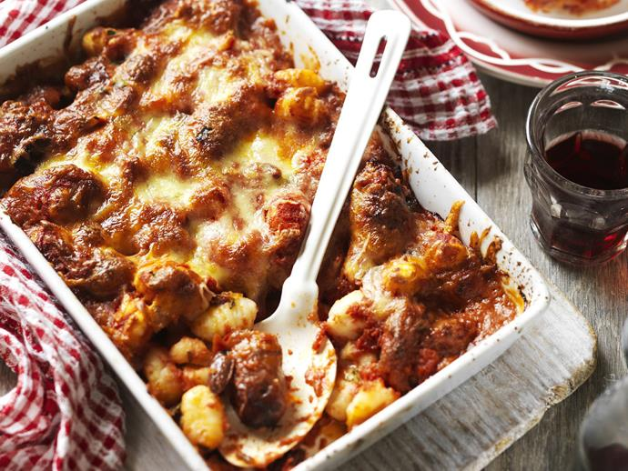 "A quick and easy crowd pleaser, [baked gnocchi with meatballs](https://www.womensweeklyfood.com.au/recipes/baked-gnocchi-and-meatballs-15167|target=""_blank"") is the perfect recipe to turn to mid-week when you're busy or tired but still have a load of mouths to feed."
