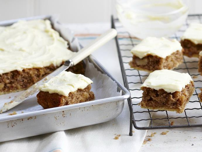 """**[Hummingbird squares with cream cheese frosting](https://www.womensweeklyfood.com.au/recipes/hummingbird-squares-with-cream-cheese-frosting-9459