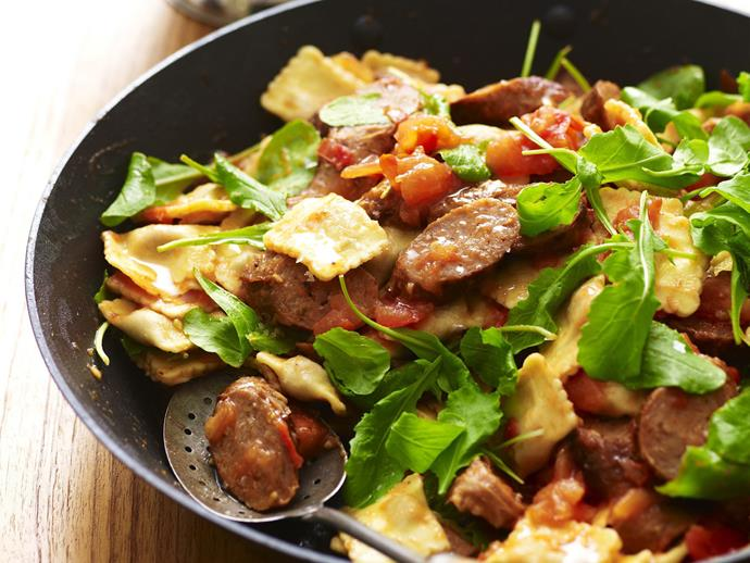 "A healthy and filling warm [lamb sausage and ravioli salad](https://www.womensweeklyfood.com.au/recipes/warm-lamb-sausage-and-ravioli-salad-9461|target=""_blank"")"
