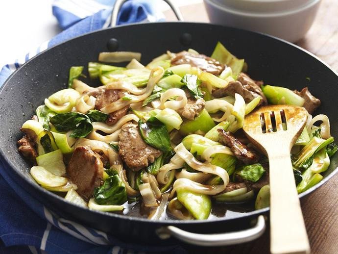 "**[Sesame, ginger and pork stir-fry](https://www.womensweeklyfood.com.au/recipes/sesame-ginger-and-pork-stir-fry-3629|target=""_blank"")**"