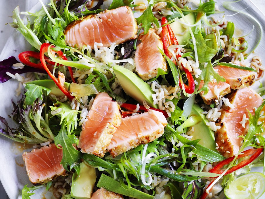 "**[Seared wasabi salmon and brown rice salad](https://www.womensweeklyfood.com.au/recipes/seared-wasabi-salmon-and-brown-rice-salad-9484|target=""_blank"")**  It's healthy, it's filling and it has a punch of flavour - what more could you ask for?"