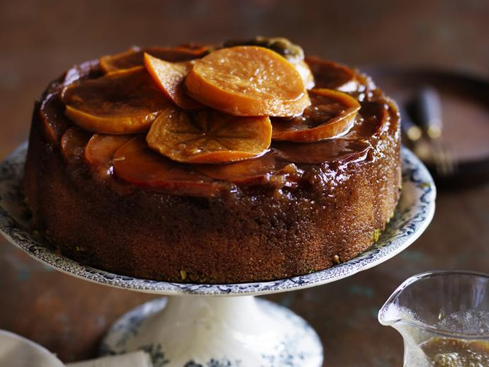 "**[Persimmon maple upside-down cake](https://www.womensweeklyfood.com.au/recipes/persimmon-maple-upside-down-cake-3639|target=""_blank"")**"