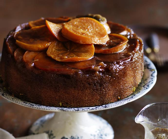 persimmon maple upside-down cake