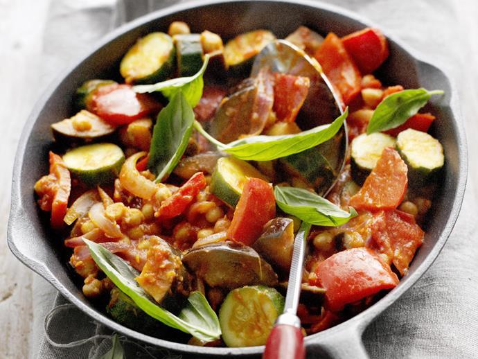 "**[Chickpea ratatouille](https://www.womensweeklyfood.com.au/recipes/chickpea-ratatouille-9496|target=""_blank"")**"