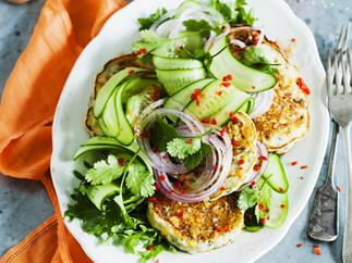 corn fritters with cucumber salad