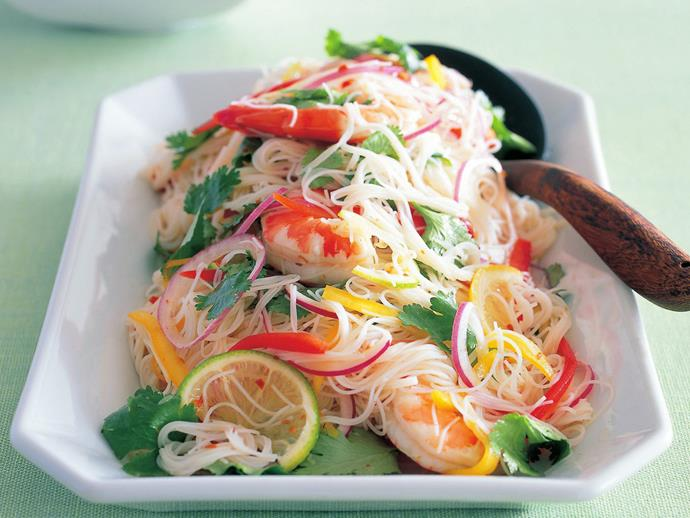 "This [hot and sour prawn vermicelli salad](http://www.foodtolove.com.au/recipes/hot-and-sour-prawn-vermicelli-salad-24683|target=""_blank"") uses delicate rice vermicelli noodles that compliment the summery, zesty flavours."
