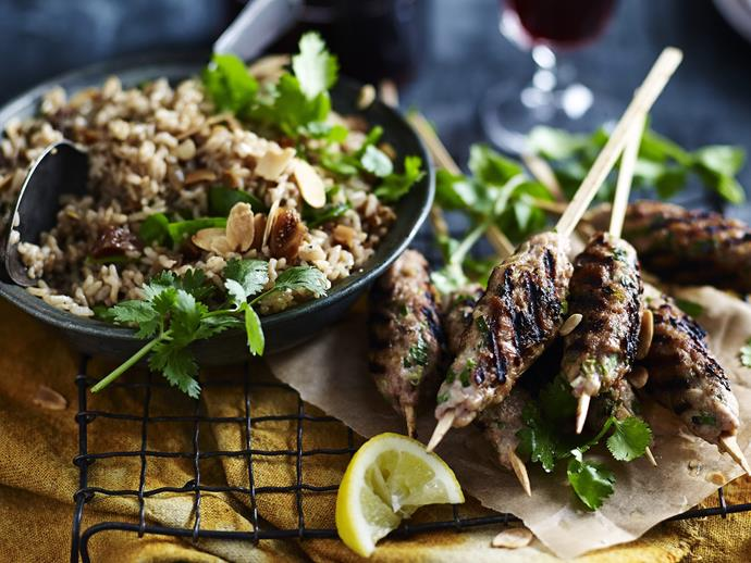 "**[Chicken koftas with fig & seed pilaf](https://www.womensweeklyfood.com.au/recipes/chicken-koftas-with-fig-and-seed-pilaf-9530|target=""_blank"")**"