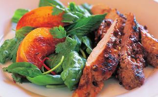 SICHUAN PEPPER PORK WITH PEACH AND CHILLI SALAD